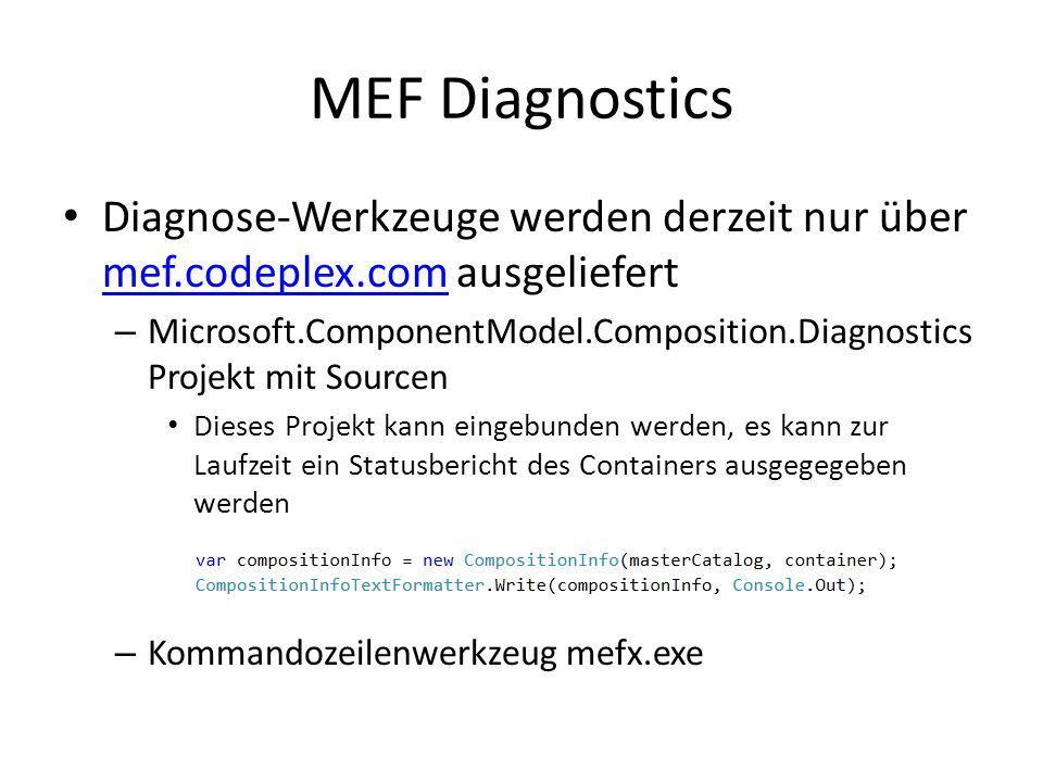 MEF DiagnosticsDiagnose-Werkzeuge werden derzeit nur über mef.codeplex.com ausgeliefert.