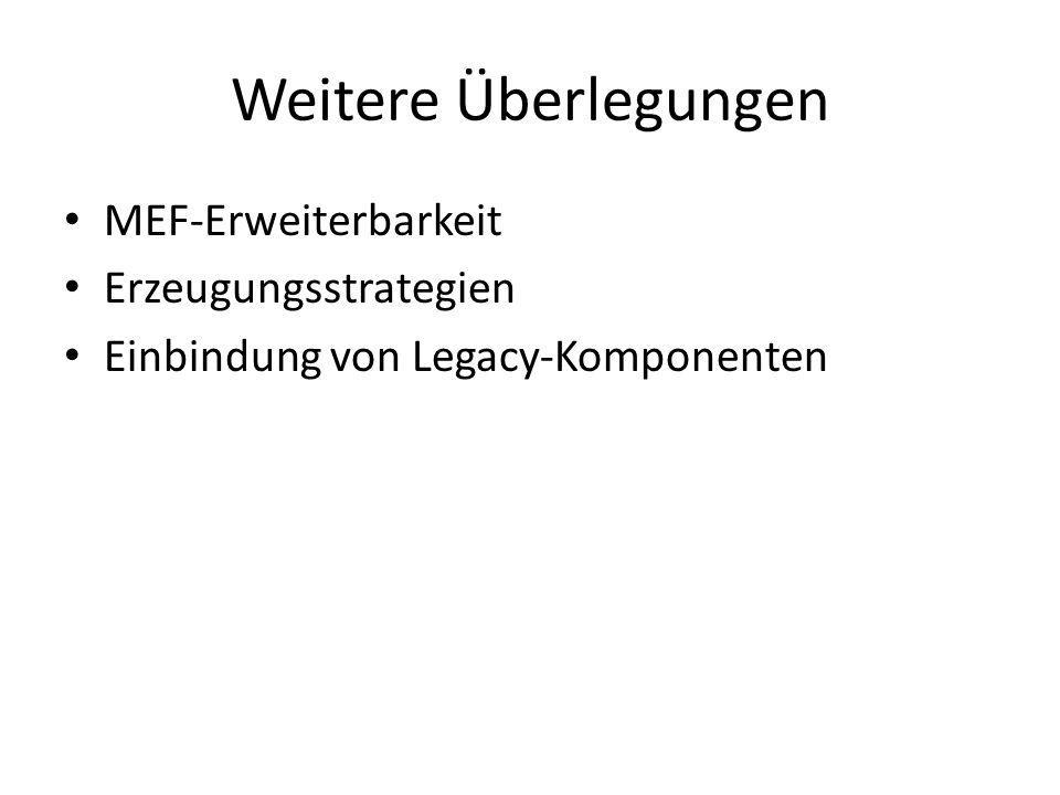Weitere Überlegungen MEF-Erweiterbarkeit Erzeugungsstrategien