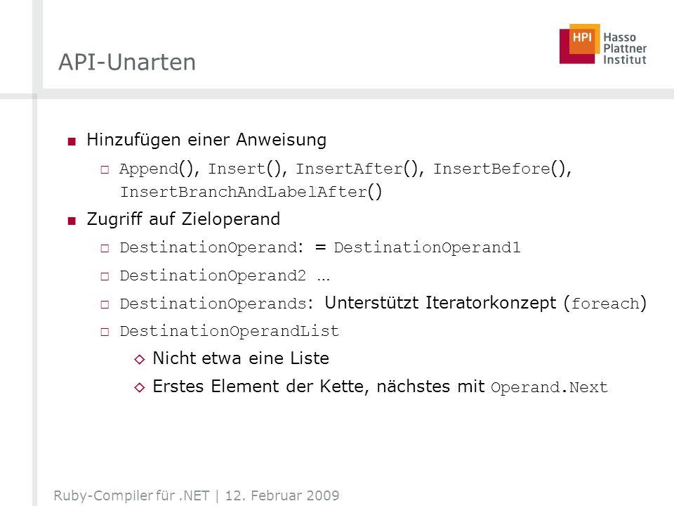 API-Unarten Hinzufügen einer Anweisung