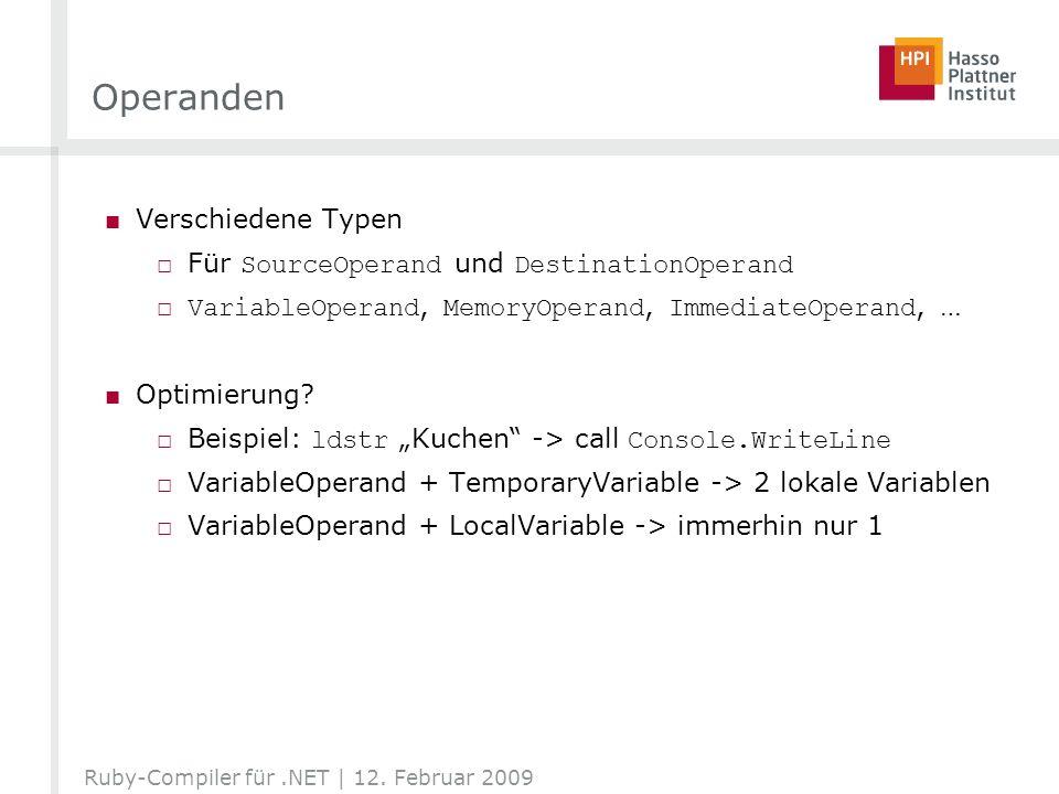 Operanden Verschiedene Typen Für SourceOperand und DestinationOperand