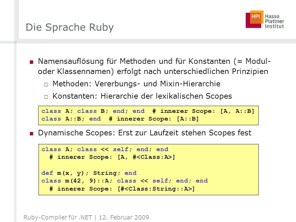 Die Sprache Ruby Namensauflösung für Methoden und für Konstanten (= Modul- oder Klassennamen) erfolgt nach unterschiedlichen Prinzipien.