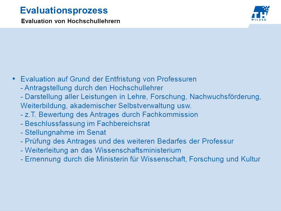 Evaluationsprozess Evaluation von Hochschullehrern.