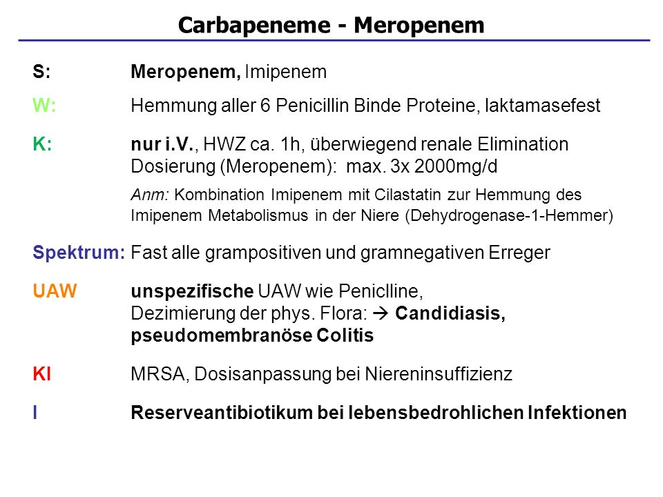 Carbapeneme - Meropenem