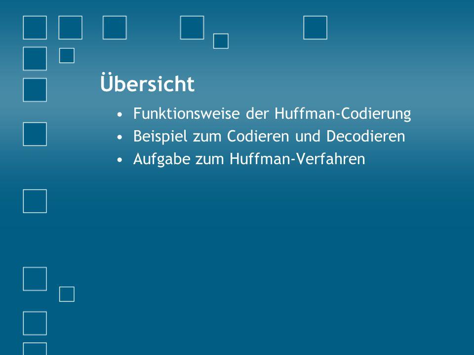 Übersicht Funktionsweise der Huffman-Codierung