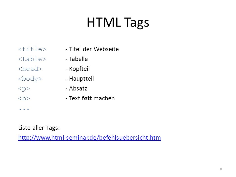 HTML Tags <title> - Titel der Webseite <table> - Tabelle