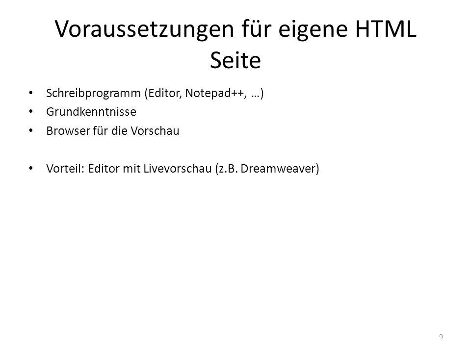 Voraussetzungen für eigene HTML Seite