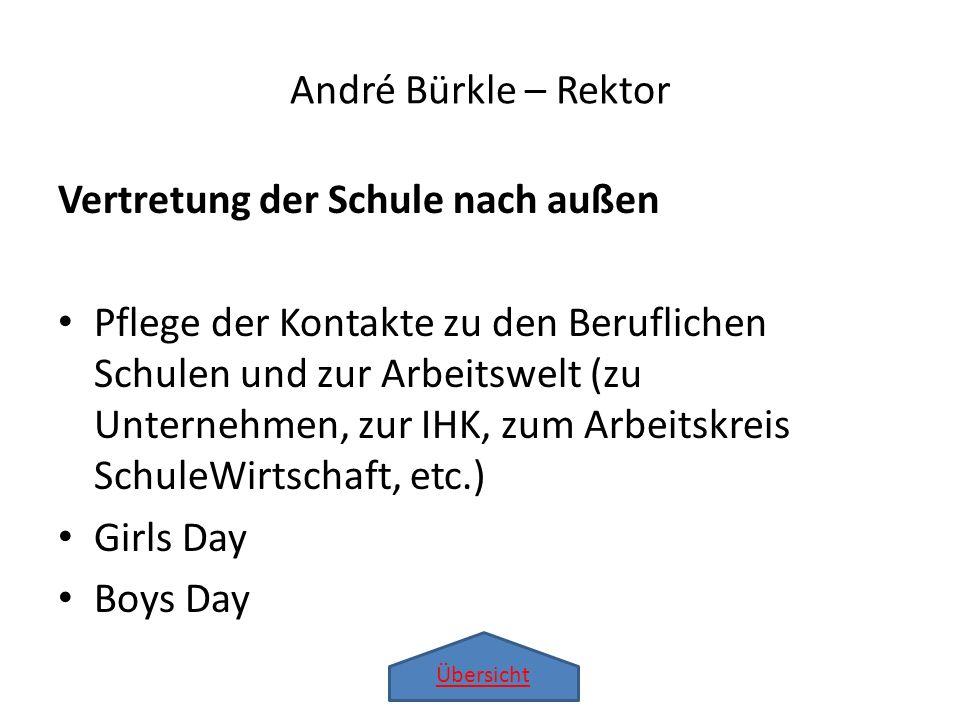 André Bürkle – Rektor Vertretung der Schule nach außen.
