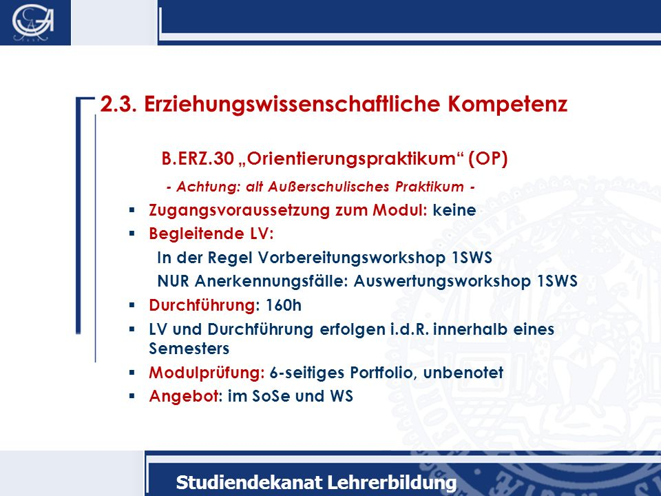 2.3. Erziehungswissenschaftliche Kompetenz