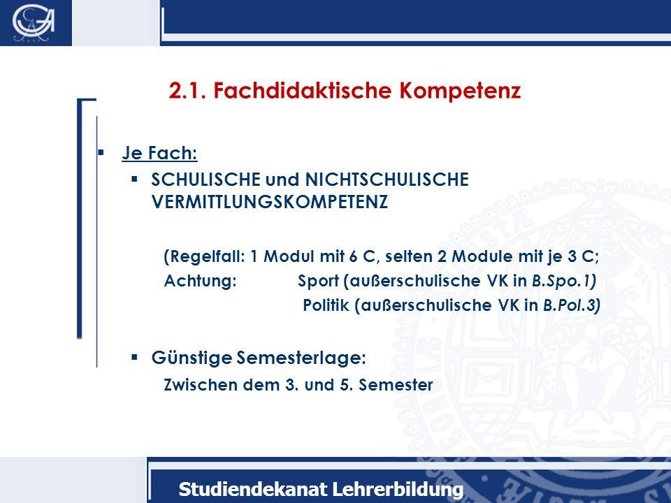 2.1. Fachdidaktische Kompetenz