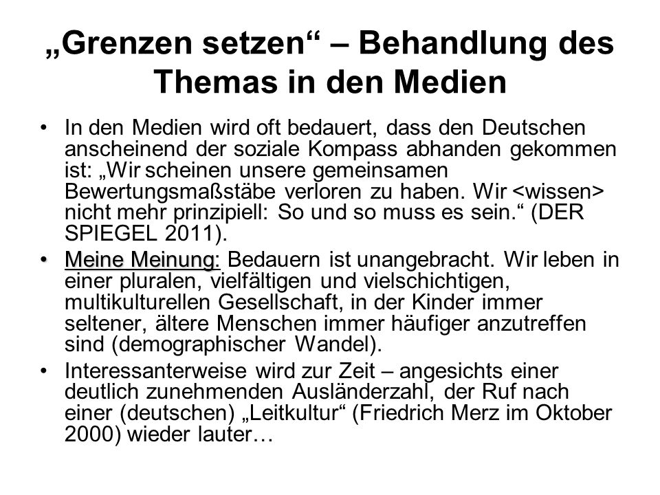 """""""Grenzen setzen – Behandlung des Themas in den Medien"""