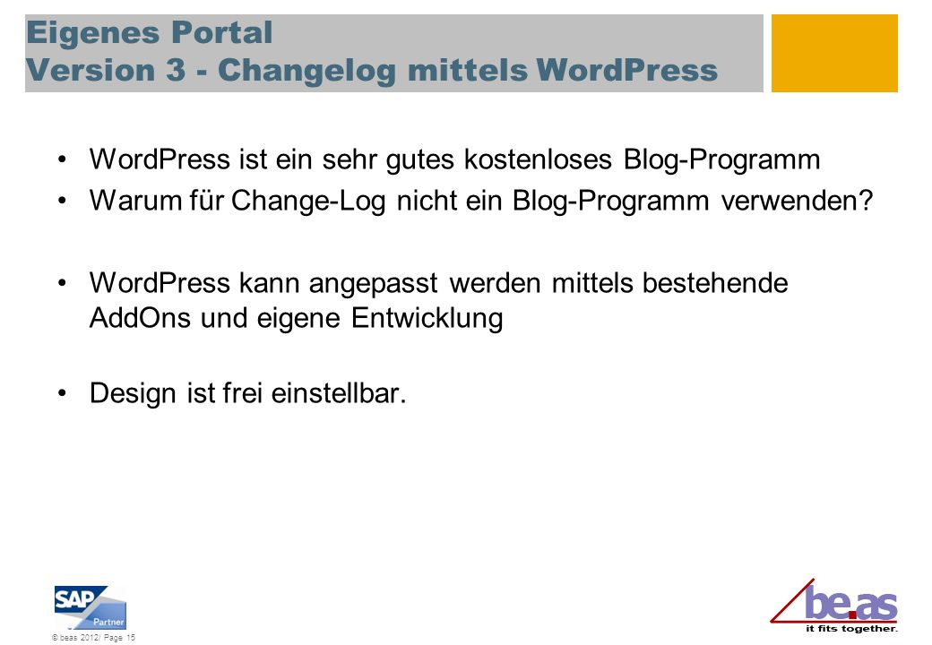 Eigenes Portal Version 3 - Changelog mittels WordPress