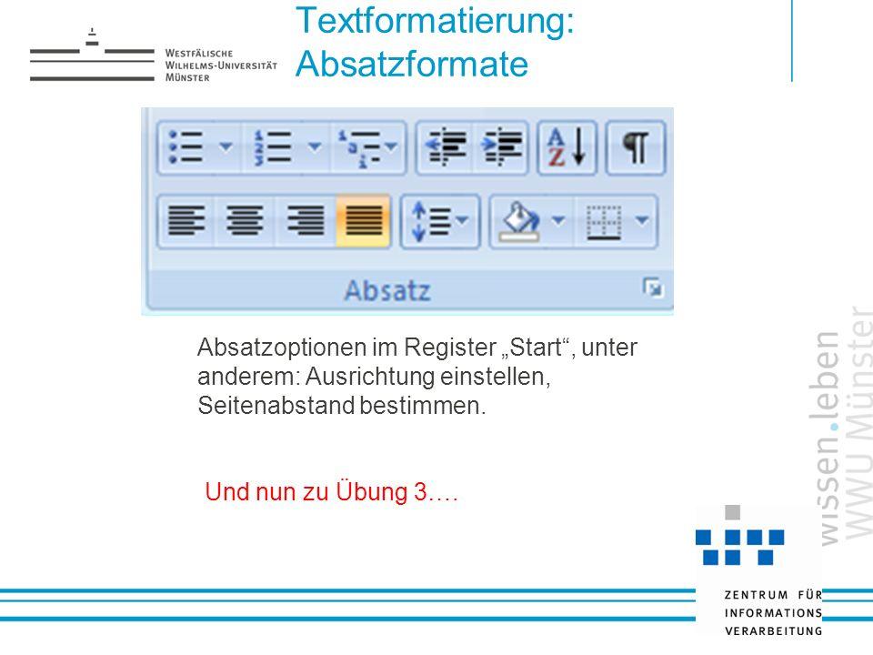 Textformatierung: Absatzformate