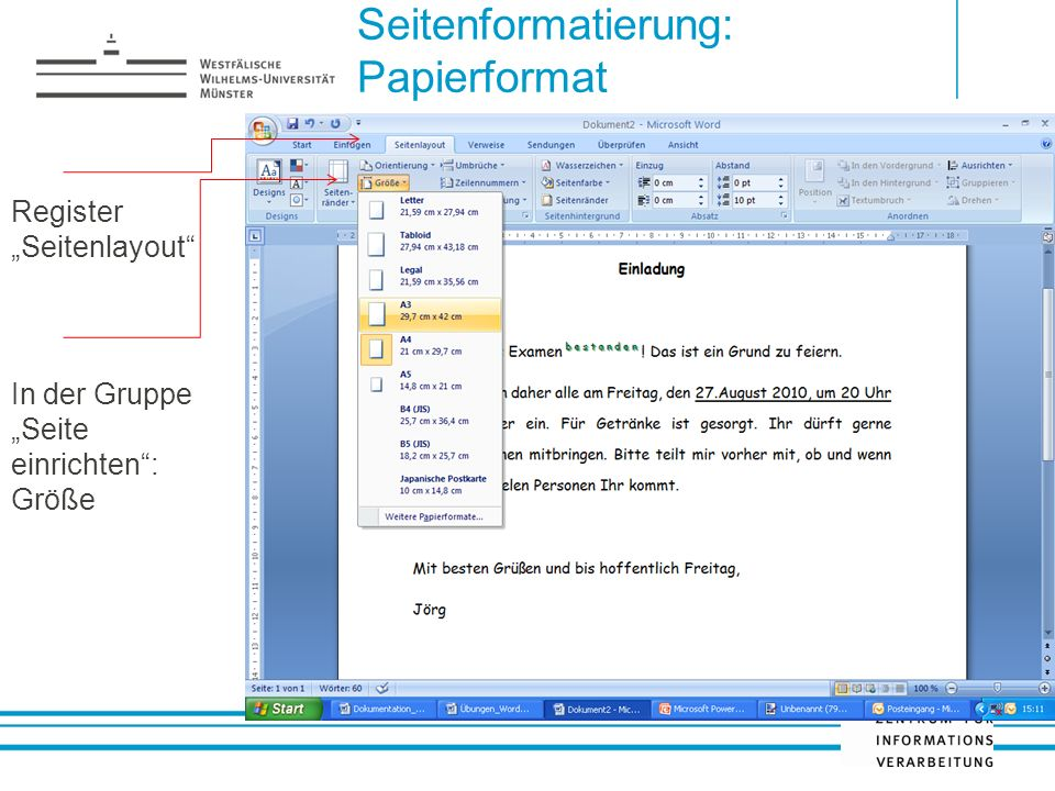 Seitenformatierung: Papierformat