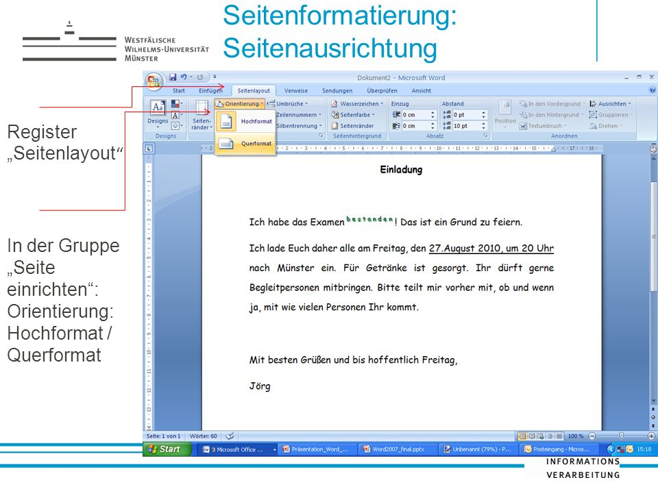 Seitenformatierung: Seitenausrichtung