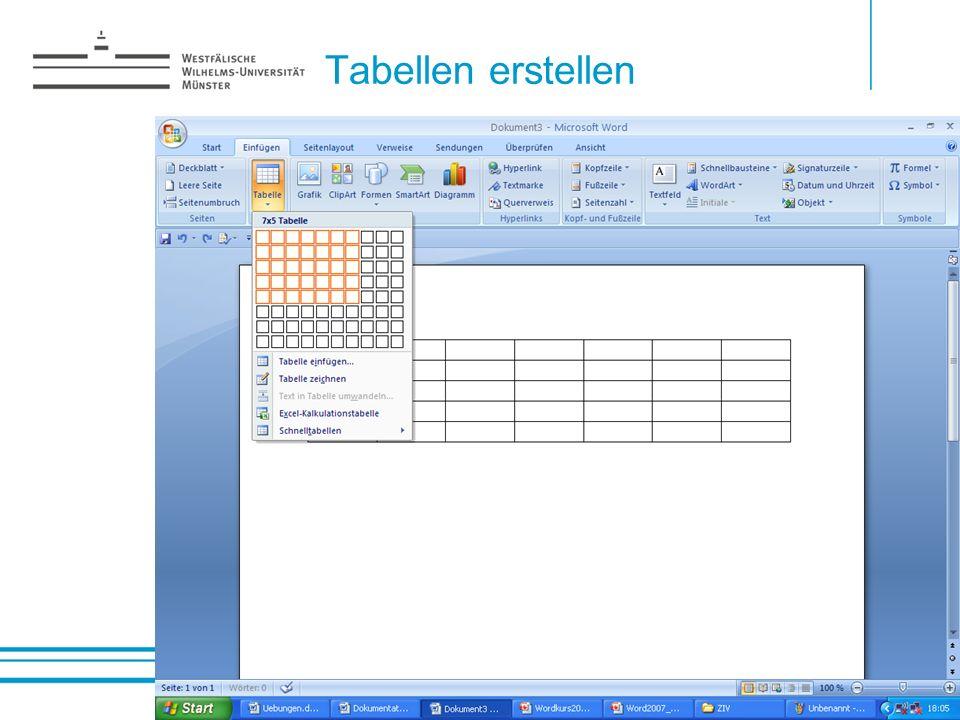 Tabellen erstellen