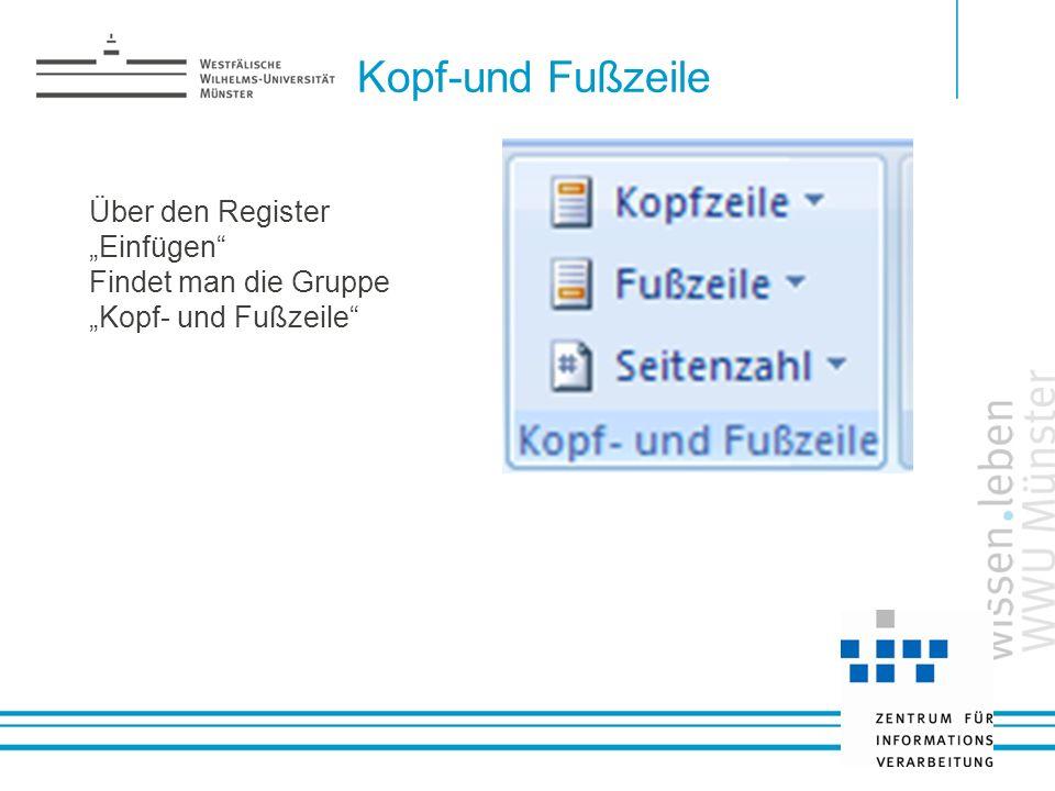 """Kopf-und Fußzeile Über den Register """"Einfügen"""