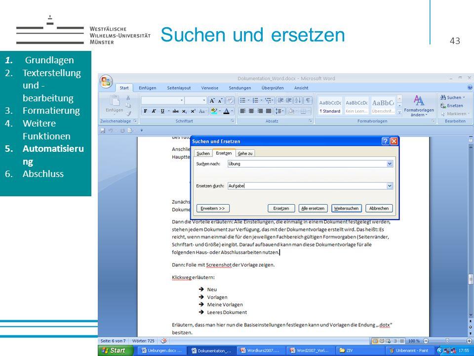 Suchen und ersetzen Grundlagen Texterstellung und -bearbeitung