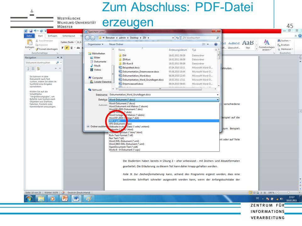 Zum Abschluss: PDF-Datei erzeugen