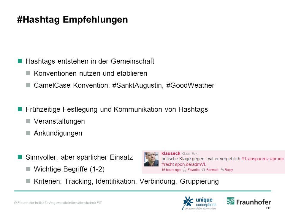 #Hashtag Empfehlungen