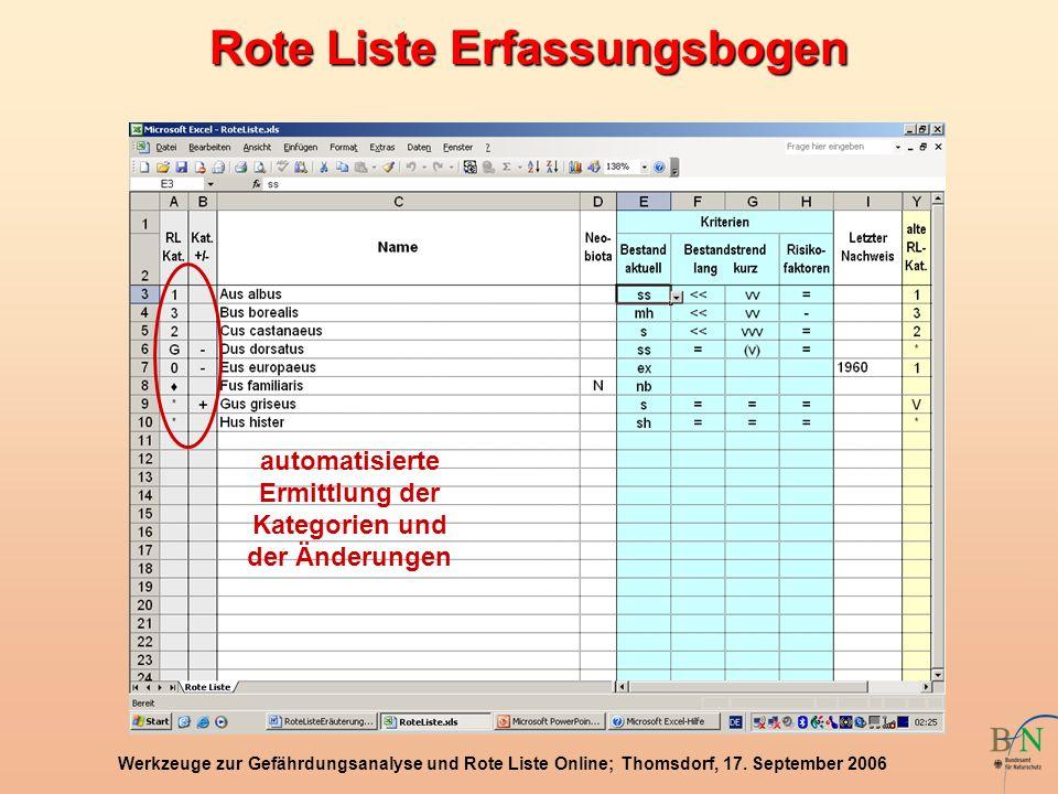 Rote Liste Erfassungsbogen