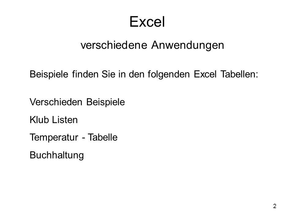 Excel verschiedene Anwendungen