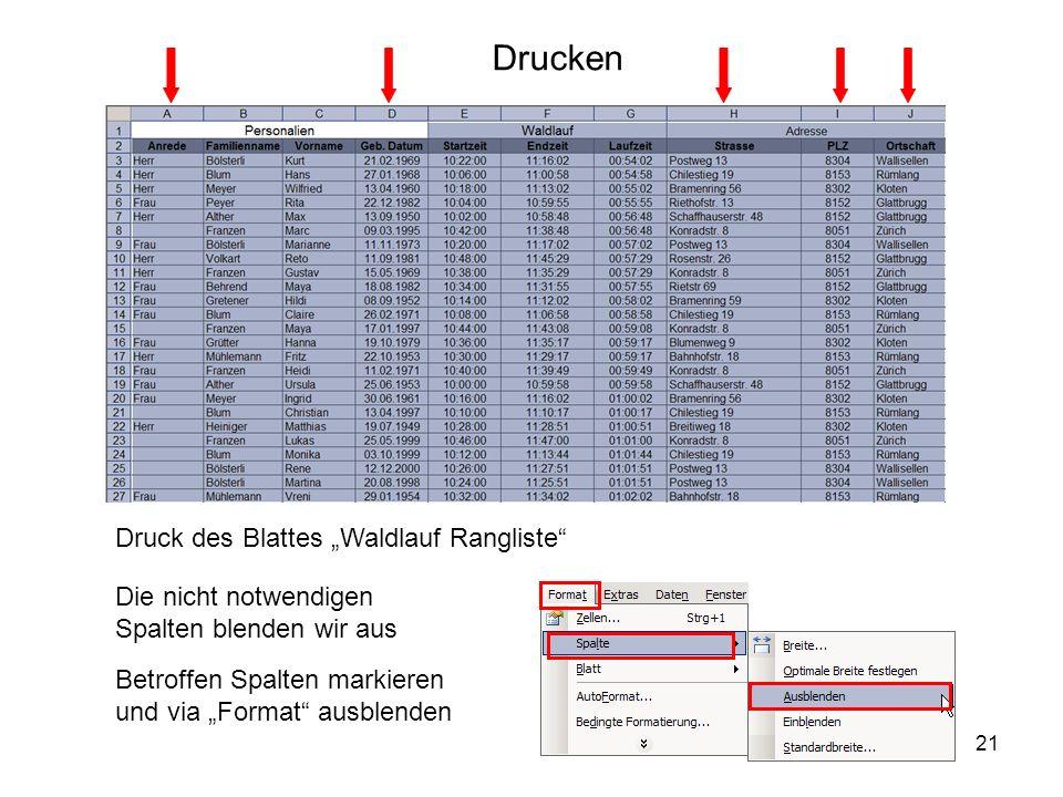 """Drucken Druck des Blattes """"Waldlauf Rangliste"""