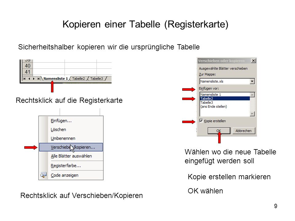 Kopieren einer Tabelle (Registerkarte)