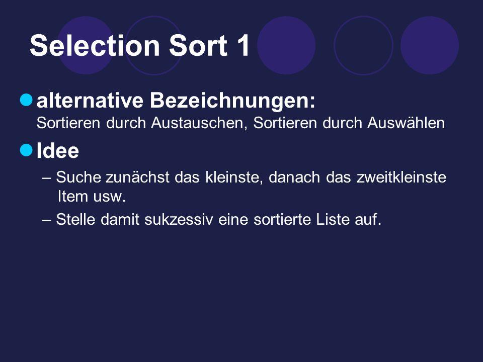 Selection Sort 1 alternative Bezeichnungen: Sortieren durch Austauschen, Sortieren durch Auswählen.