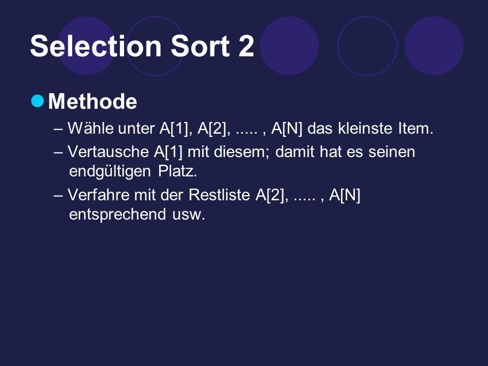 Selection Sort 2 Methode