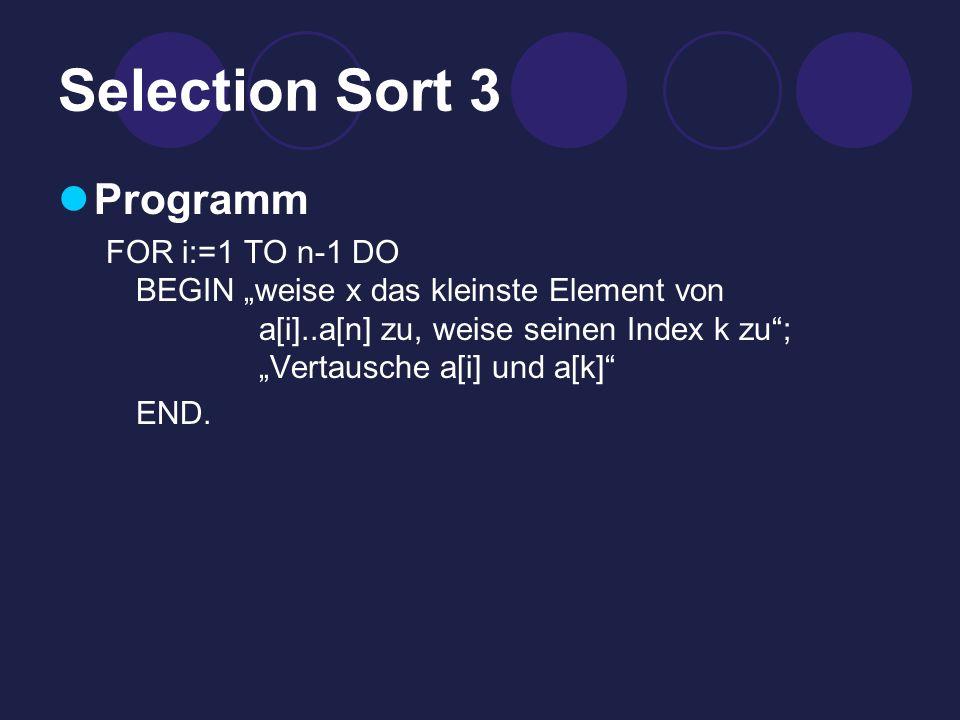 Selection Sort 3 Programm