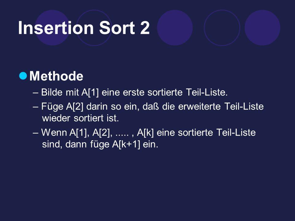 Insertion Sort 2 Methode