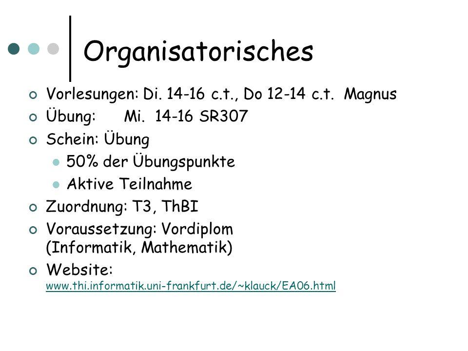 Organisatorisches Vorlesungen: Di. 14-16 c.t., Do 12-14 c.t. Magnus