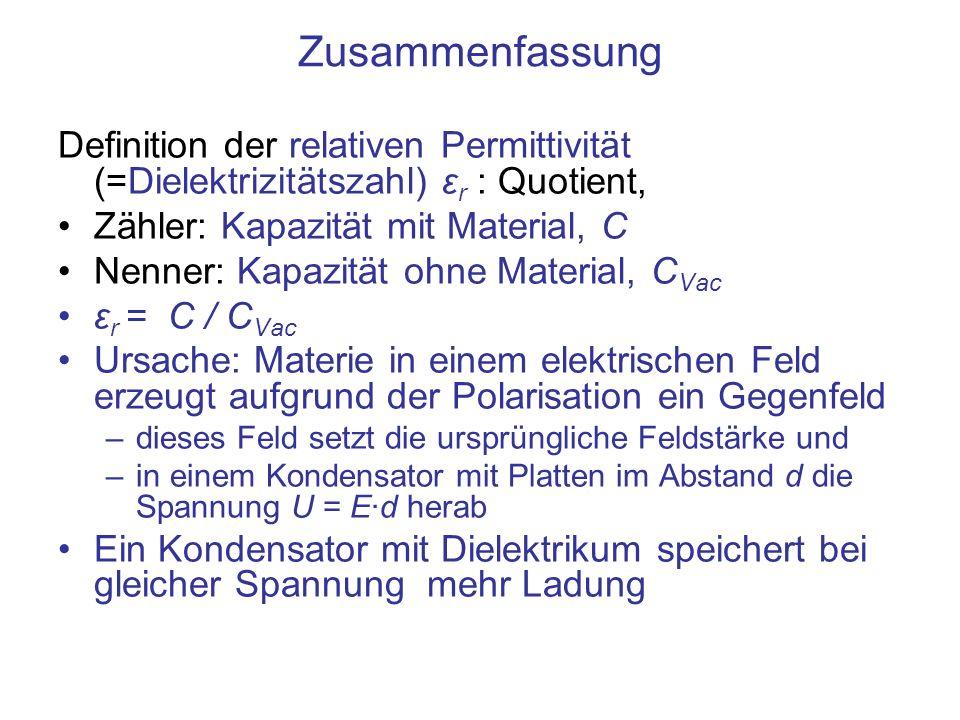 Zusammenfassung Definition der relativen Permittivität (=Dielektrizitätszahl) εr : Quotient, Zähler: Kapazität mit Material, C.