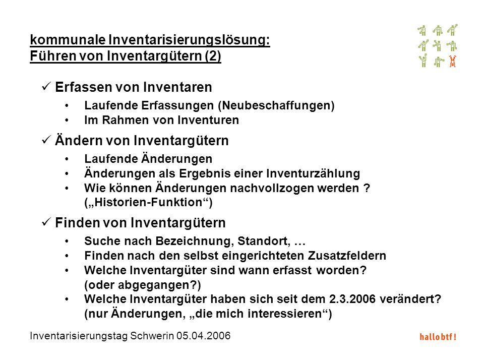 kommunale Inventarisierungslösung: Führen von Inventargütern (2)