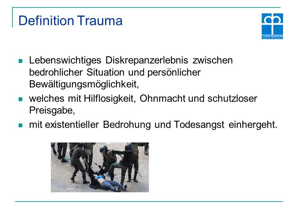 Definition Trauma Lebenswichtiges Diskrepanzerlebnis zwischen bedrohlicher Situation und persönlicher Bewältigungsmöglichkeit,