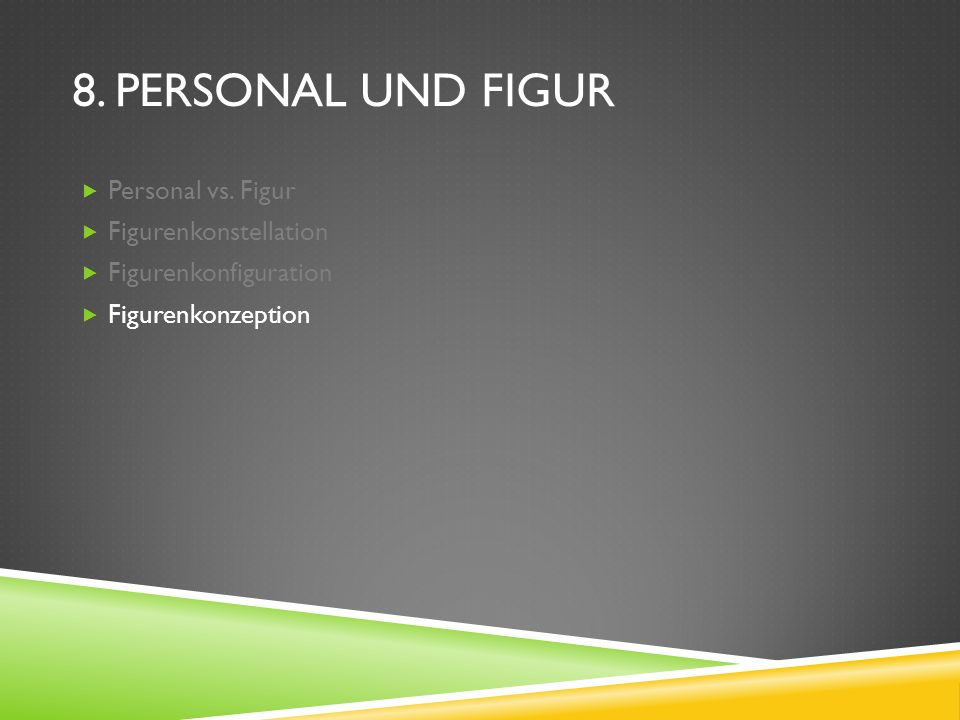 8. Personal und Figur Personal vs. Figur Figurenkonstellation