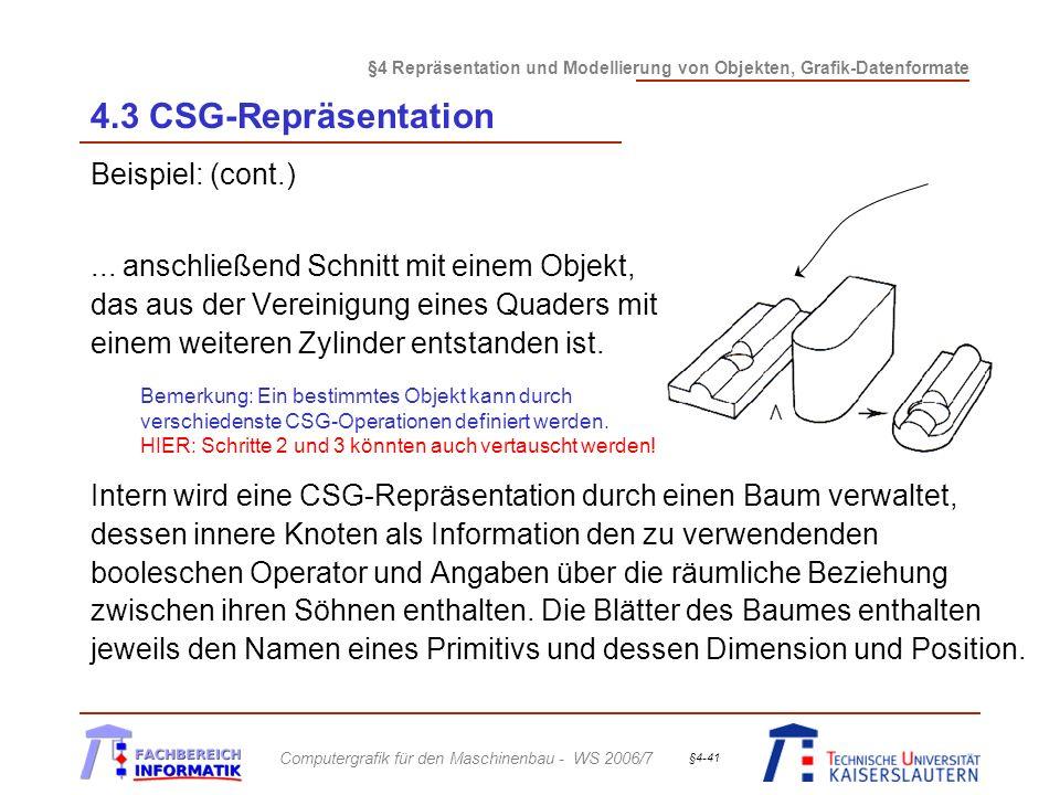 4.3 CSG-Repräsentation Beispiel: (cont.)