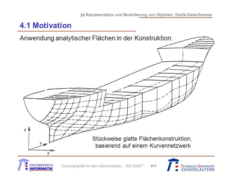 4.1 Motivation Anwendung analytischer Flächen in der Konstruktion: