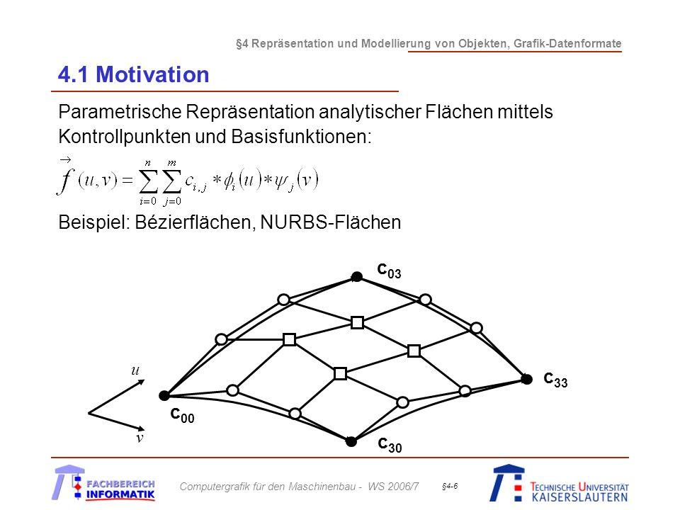 4.1 Motivation Parametrische Repräsentation analytischer Flächen mittels Kontrollpunkten und Basisfunktionen: