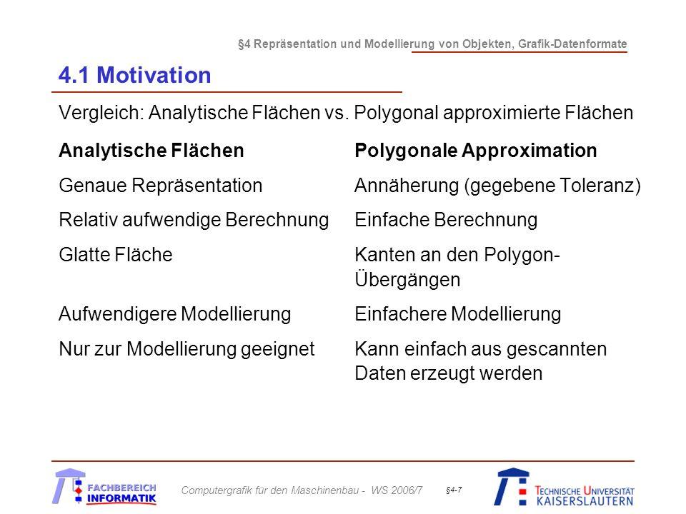 4.1 Motivation Vergleich: Analytische Flächen vs. Polygonal approximierte Flächen. Analytische Flächen Polygonale Approximation.