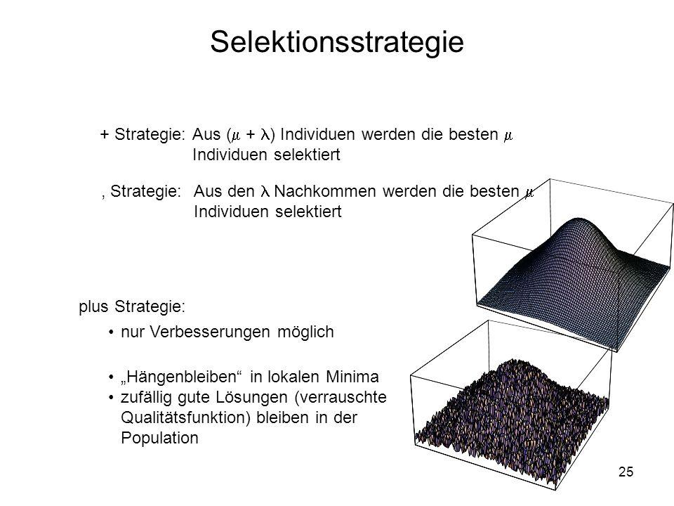 Selektionsstrategie + Strategie: Aus ( + ) Individuen werden die besten  Individuen selektiert.