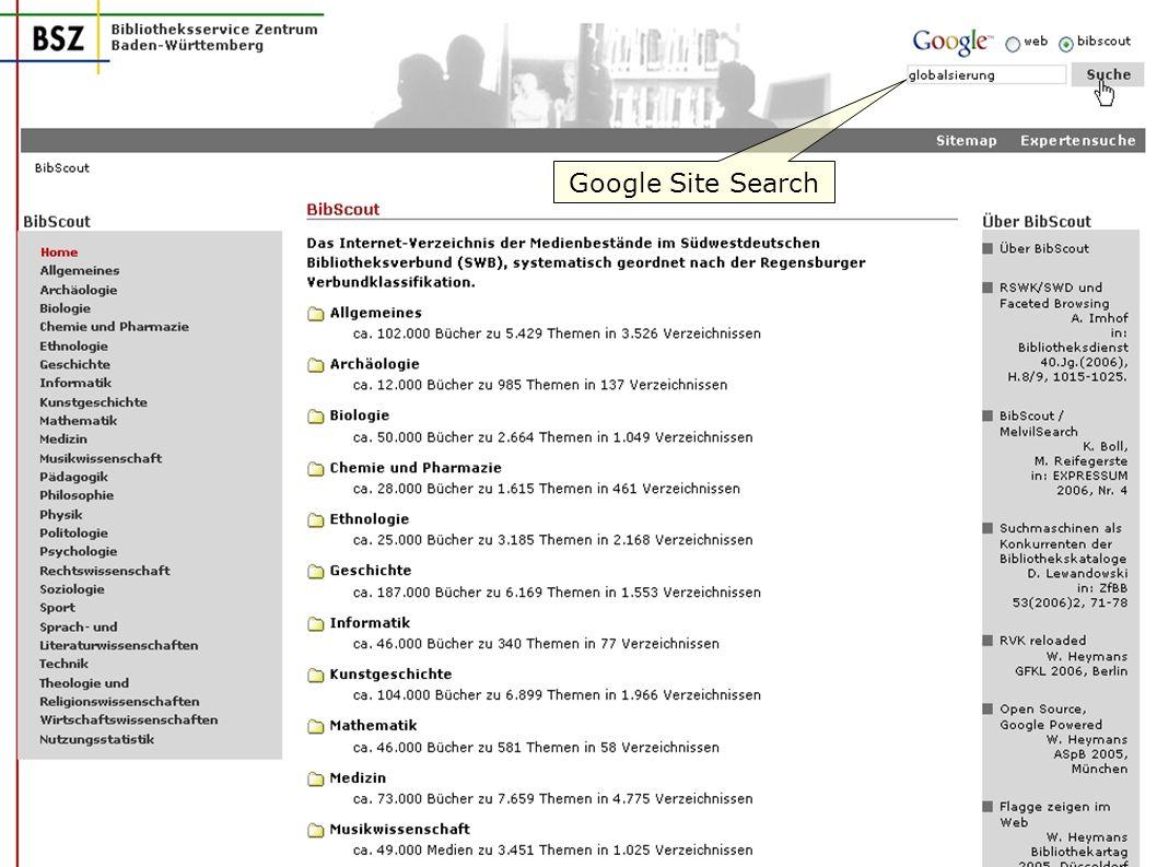 Google Site Search W. Heymans, BSZ: BibScout
