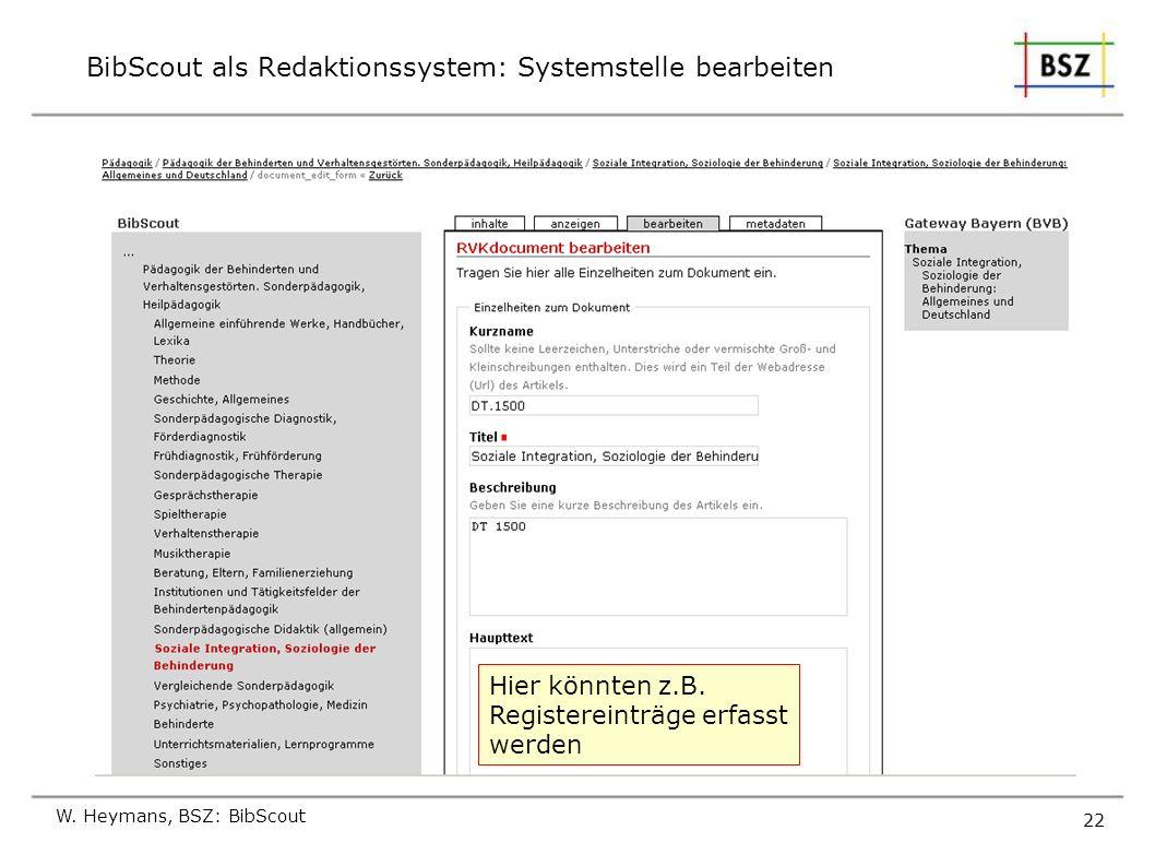 BibScout als Redaktionssystem: Systemstelle bearbeiten