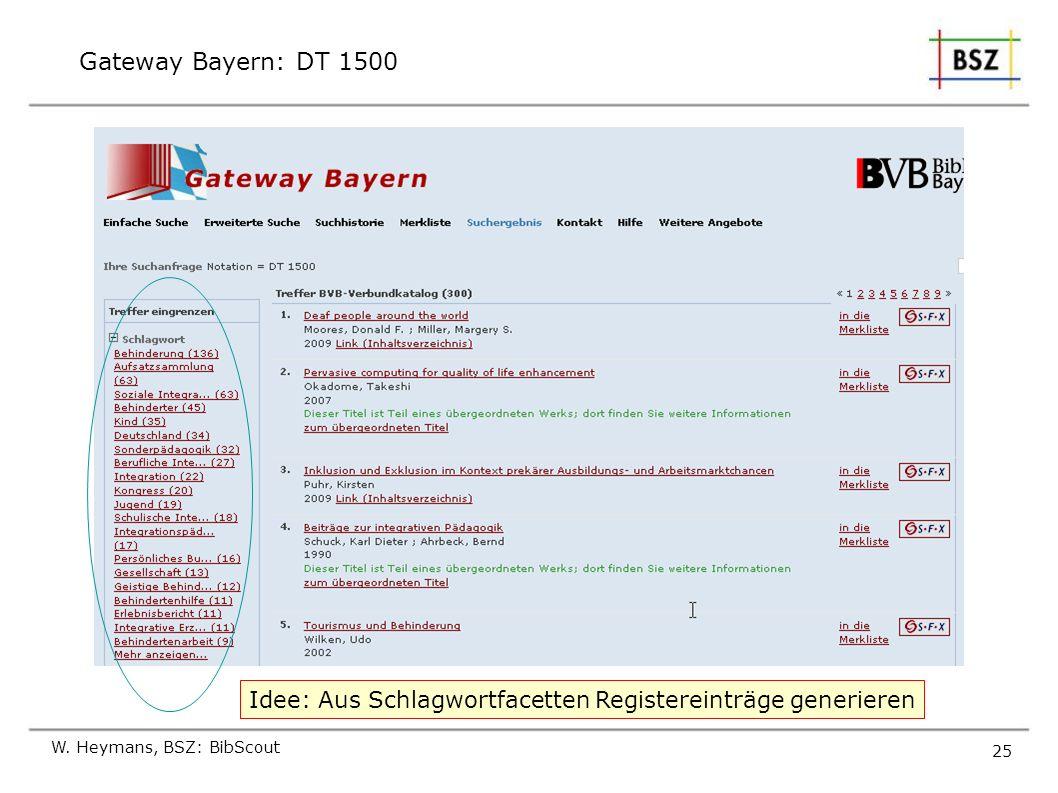 Gateway Bayern: DT 1500 Idee: Aus Schlagwortfacetten Registereinträge generieren.