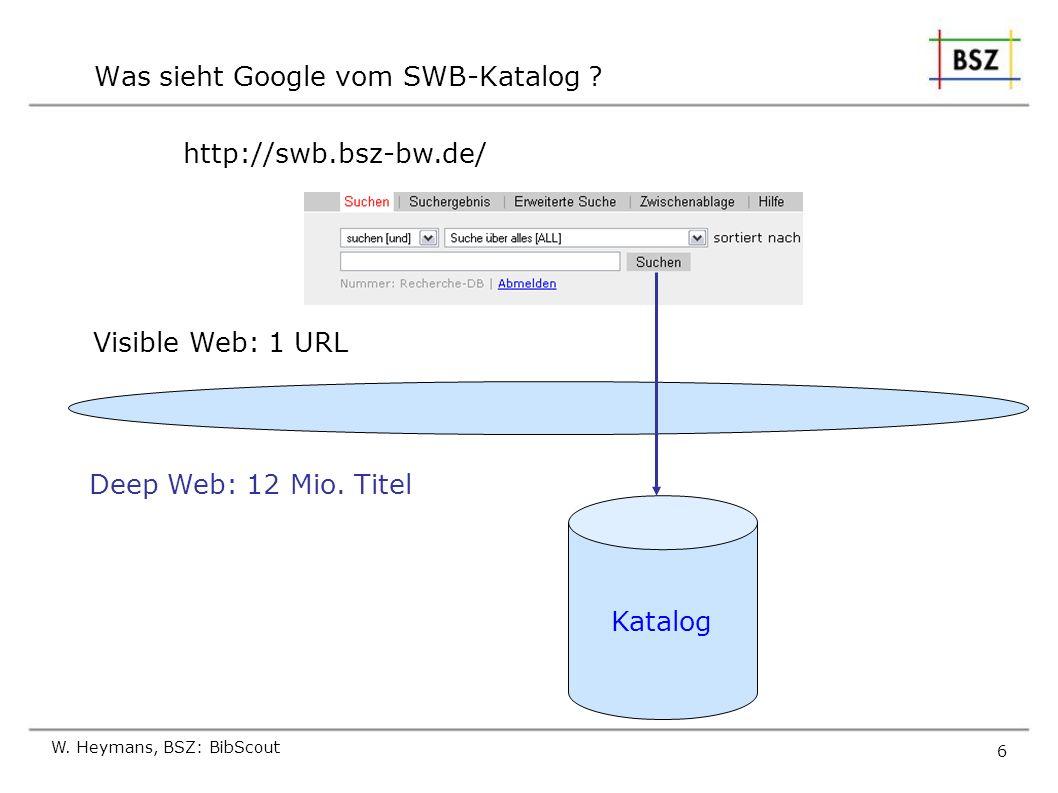 Was sieht Google vom SWB-Katalog