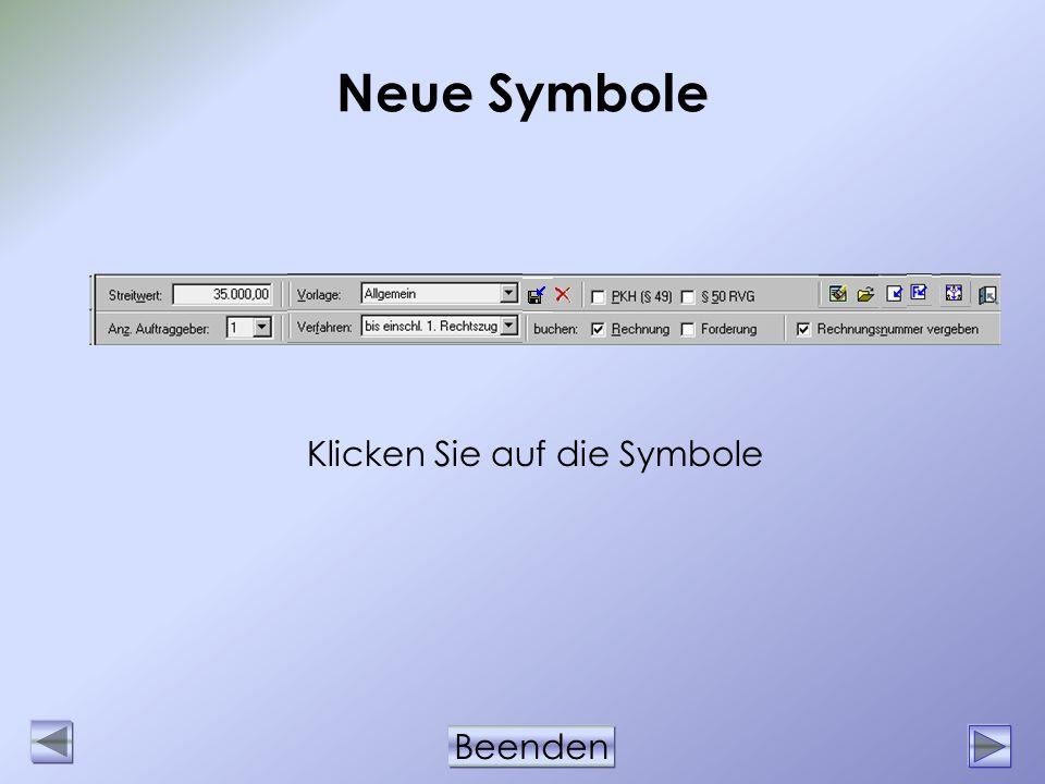 Neue Symbole Klicken Sie auf die Symbole