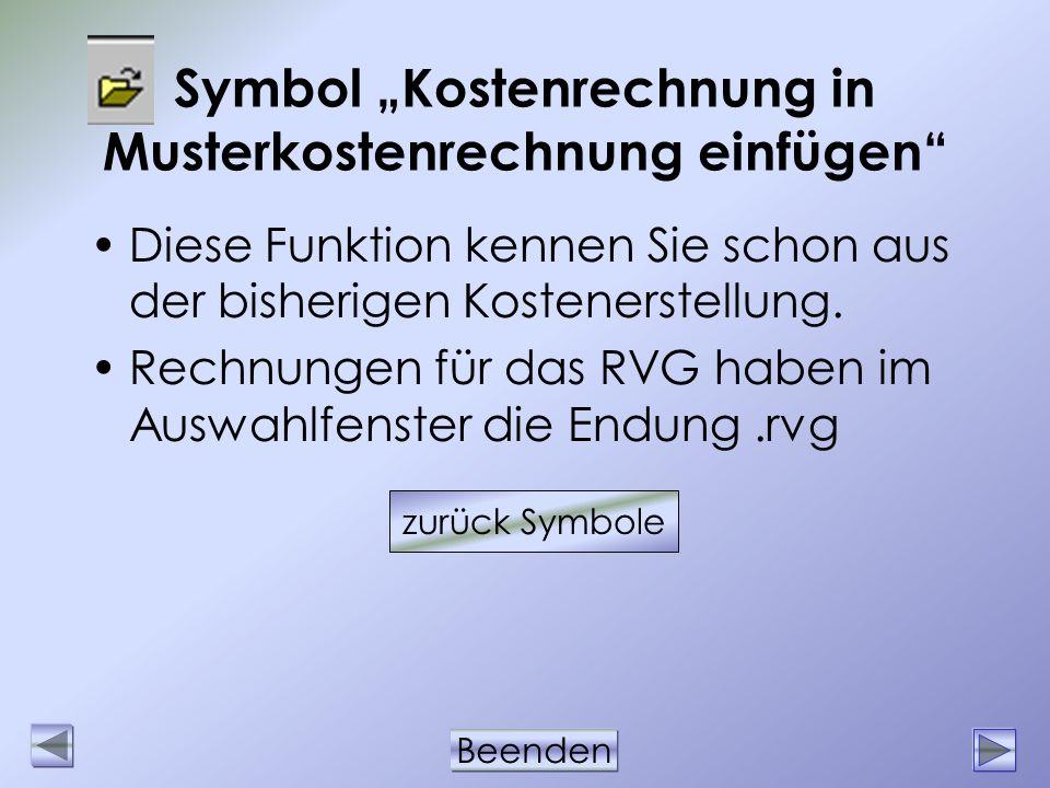 """Symbol """"Kostenrechnung in Musterkostenrechnung einfügen"""