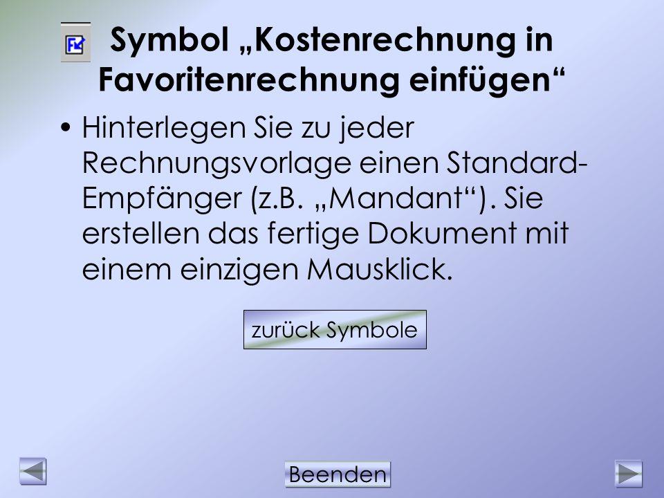"""Symbol """"Kostenrechnung in Favoritenrechnung einfügen"""