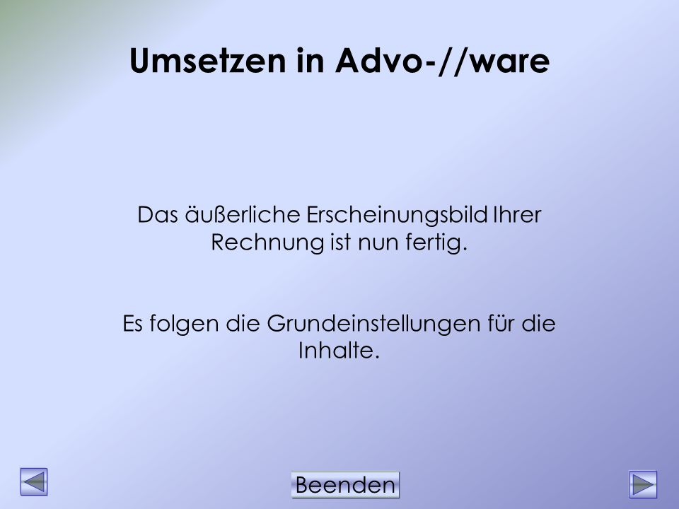 Umsetzen in Advo-//ware