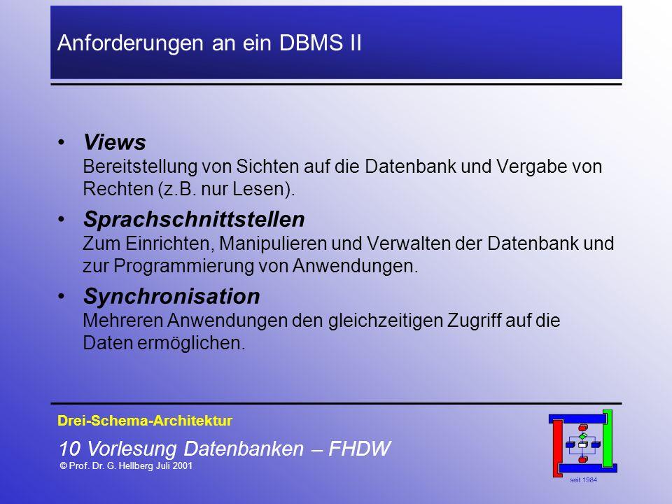 Anforderungen an ein DBMS II
